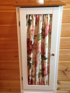 Bathroom cabinet (new home sewn curtain, summer 2014)