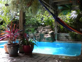 View from poolside seating area