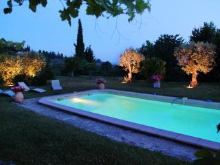 Swimming pool night sea view