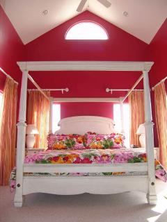Master Bedroom with KING sized Canopy Bed & Cathedral Ceilings