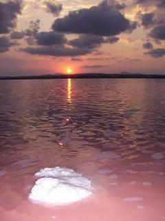 Sunset over the salt lakes