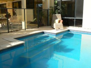 Solar heated concrete pool
