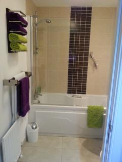 Main bathroom with bath/shower