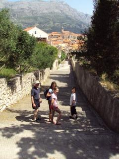 Walking down the steps into Korcula town