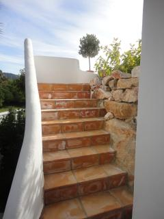 Steps to pool and garden