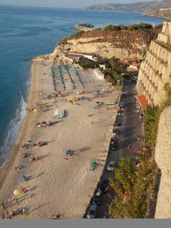 view from Tropea to its beach
