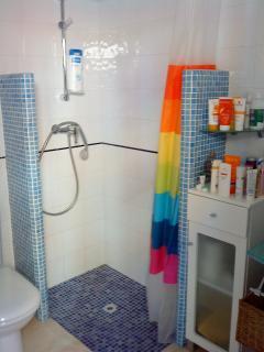El cuarto de baño, con su ducha.