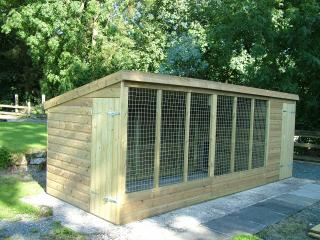 Our dog kennel is available for your use to leave your dog unattended