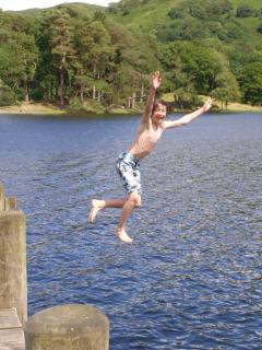Natan leaping from Lake Bank Jetty