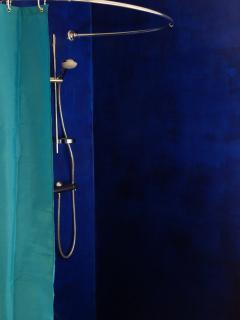 l'espace douche de la chambre bleue