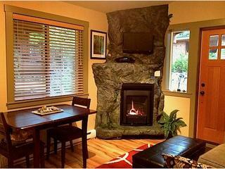 Cozy gas fireplace.