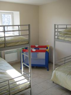 2 sets of adult bunkbeds, 1 cot & 2 high chairs
