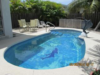 Private Pool area with dining table for 4, lounge chairs  & hammock