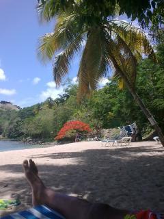 the nearby Pigeon Island beach