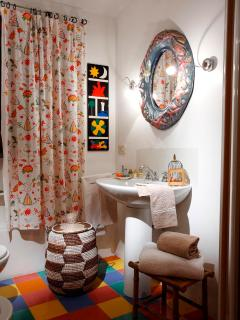 the bathroom of the yellow bedroom