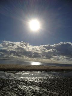 Loads of sunshine over the beach at Aberdovey