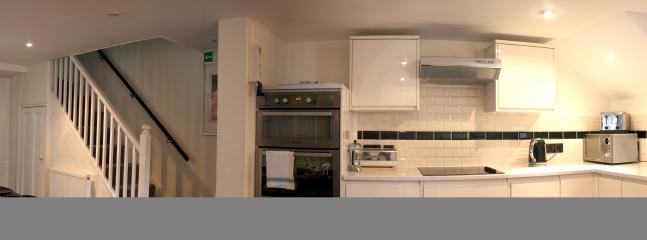 Panoramic view of kitchen area