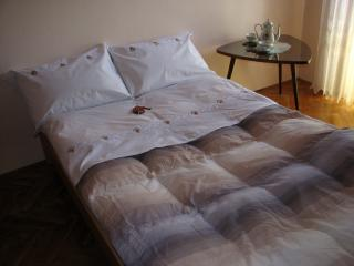 Queen size bed with bed linen from Karmen's dowry, hand-picked herbs inside pillows.