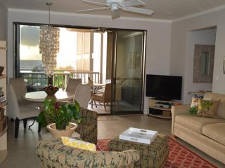 Newly added tropical decor in the living and dining area plus amazing views