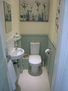 The recently installed upstairs cloakroom
