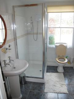 The shower room downstairs