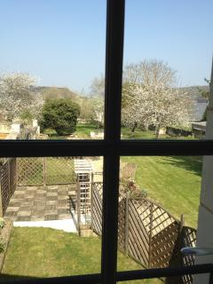 A nice view over the garden from the bathroom window