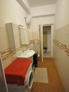Bathroom with walking in shower, basin, WC & bidet and washing machine.