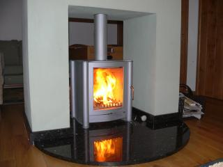 Relax in front of the woodburning stove
