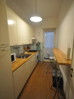 Fully equipped kitchen with eating bar, dishwasher, fridge, freezer, microwave and second balcony