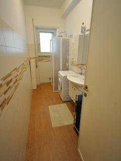 Bathroom with walking in shower.