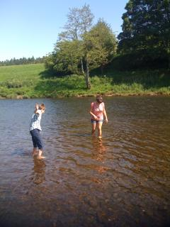 Paddling in the river at Lazonby