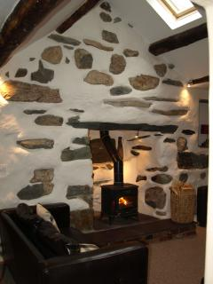 Second lounge with log burner and feature inglelook