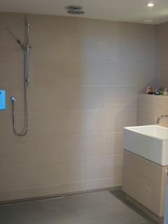 Wet room with huge shower area, big sink and a drained niche to hang swimming gear.