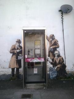 The 'Banksy' on the house wall is approx 10 mins walk from the house!Have your photo taken