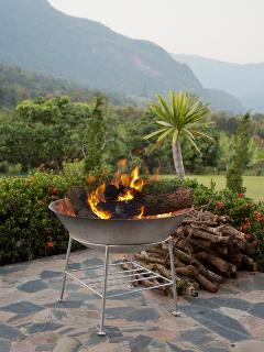Open log fires on the mountain view terrace