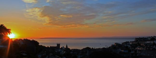 Sunrise views from the house across St Ives bay