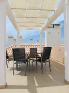 Our shaded roof terrace with outside dining