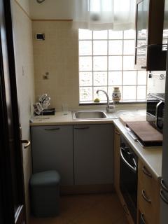 Cucina con frigo e microonde