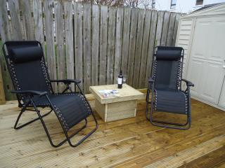 Decked Terrace, relax, enjoy & unwind  on the decked area (loungers provided in summer)