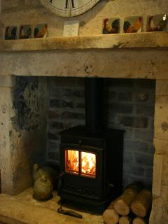 Lovely log burner with initial logs / kindling provided