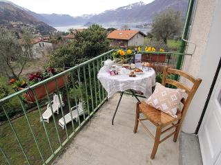 table on the balcony with garden and lake view