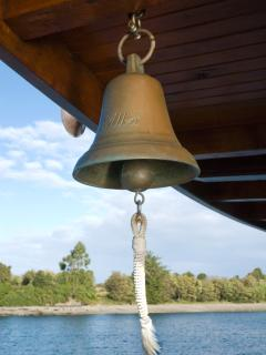 The bronze bell, specially designed for foggy day sailing and a traditional piece on board