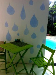 Poolside kitchen, table can be easily brought outside