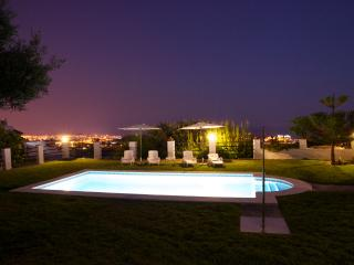 Views in the night of the garden and the swimming pool
