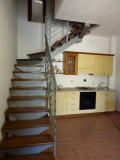 One of the apartment is on two levels. Bedroom for 2 at the first floor, sofa for two at the entranc