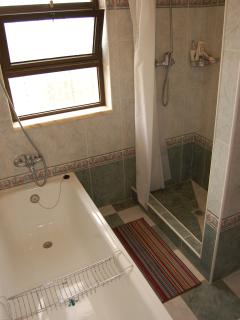 Bathrooms with bath tubs and separate showers