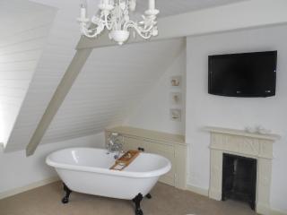 Large master bathroom with roll top bath/ Digital TV