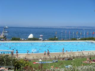 The swimming pool in Evian by the shore of Lake Geneva.