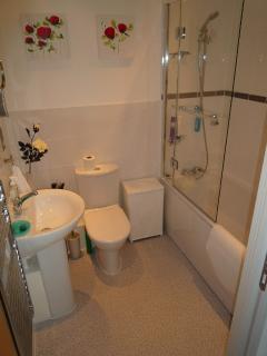 Main bathroom with bathtub and shower
