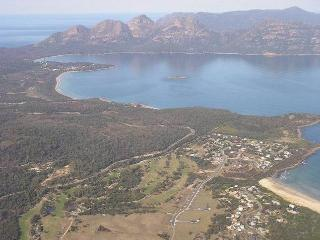 View of Coles Bay at the northern end of the Freycinet National Park, Swanwick in the foreground